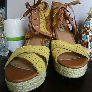 Yellow lace up wedge heels